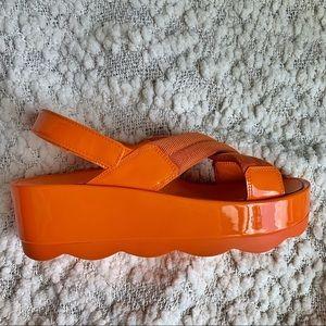 Prada Orange Criss Cross Wavy Platform Sandals